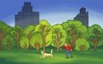 Illustration dog ball park