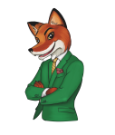 Fox wearing a green suit illustration