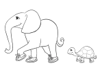 Elephant and Turtle illustration