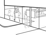 Woman entering store Illustration