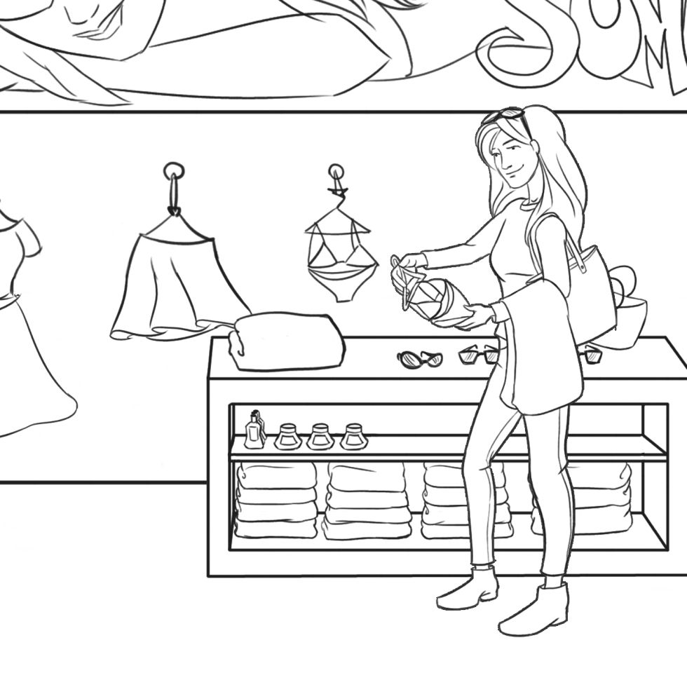 Woman buying clothes illustration
